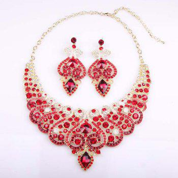 Faux Crystal Heart Necklace and Earrings