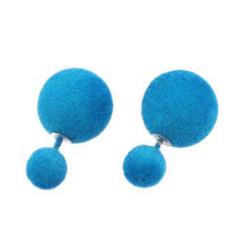 Double Fuzzy Ball Candy Color Stud Earrings