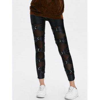 Mesh Sheer PU Leather Pants