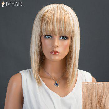 Siv Neat Bang Medium Straight Human Hair Wig - BROWN WITH BLONDE BROWN/BLONDE