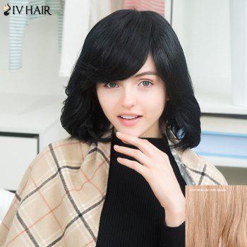 Siv Oblique Bang Short Slightly Curled Shaggy Human Hair Wig