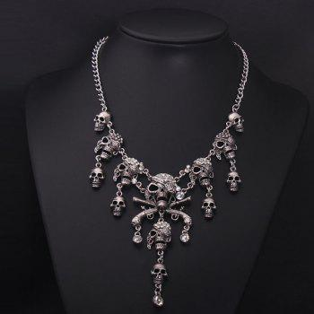 Punk Fake Crystal Skulls Tassel Necklace