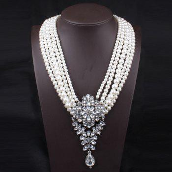 Fake Pearl Floral Crystal Layered Necklace