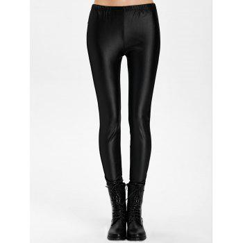 Mesh Panel PU Leather Leggings