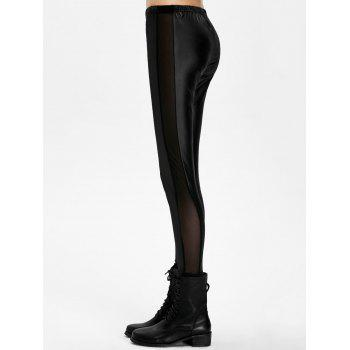 Mesh Panel PU Leather Leggings - ONE SIZE ONE SIZE
