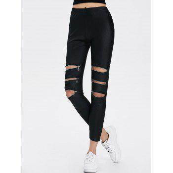 Zippers Ripped Ninth Length Leggings - ONE SIZE ONE SIZE