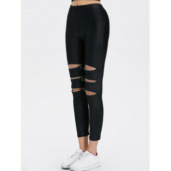 Zippers Ripped Ninth Length Leggings - BLACK BLACK