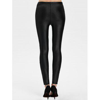 Lace Panel See Thru Ankle Length Leggings - BLACK BLACK