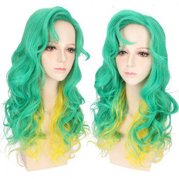 Synthetic Long Side Bang Wavy Double Color Cosplay Anime Wig
