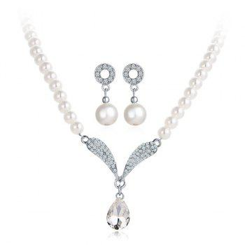 Artificial Pearl Rhinestone Beaded Necklace and Earrings
