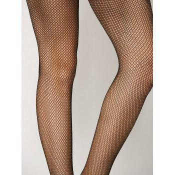 See-Through Fishnet Pantyhose - BLACK ONE SIZE