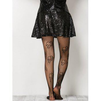 See-Through Floral Fishnet Pantyhose - ONE SIZE ONE SIZE