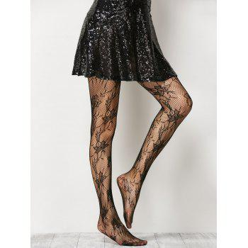 See-Through Floral Crochet Pantyhose - ONE SIZE ONE SIZE