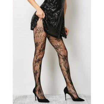 See-Through Floral Crochet Pantyhose