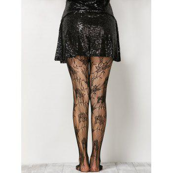 See-Through Floral Crochet Collant - Noir ONE SIZE