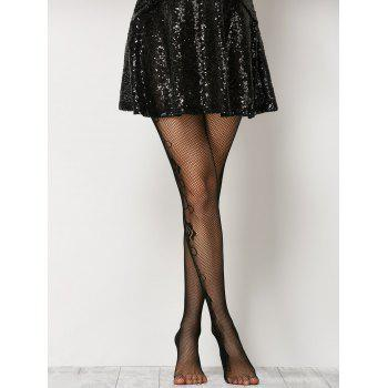 collants fleur simple filet - Noir ONE SIZE