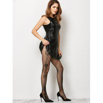 See-Through Side Floral Fishnet Pantyhose - BLACK ONE SIZE