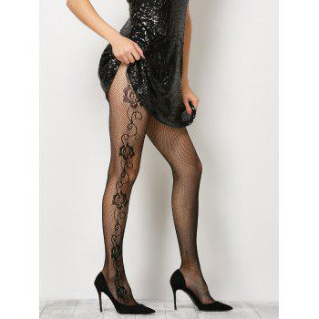 See-Through Side Floral Fishnet Pantyhose