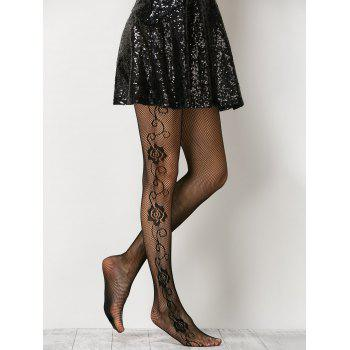 See-Through Side Floral Fishnet Pantyhose - ONE SIZE ONE SIZE