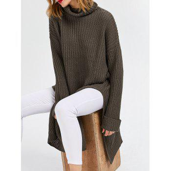 Cowl Neck Slit Ribbed Sweater