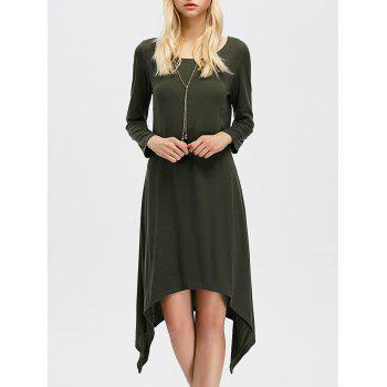 Casual Long Sleeve Midi Asymmetric Dress