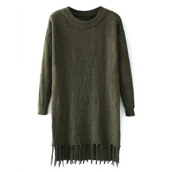Crew Neck Fringed Mini Sweater Dress