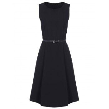 Jewel Neck Vintage Dress with Belt - BLACK BLACK