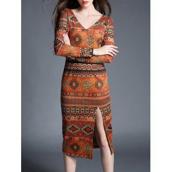 Vintage V Neck Tribal Print High Slit Dress
