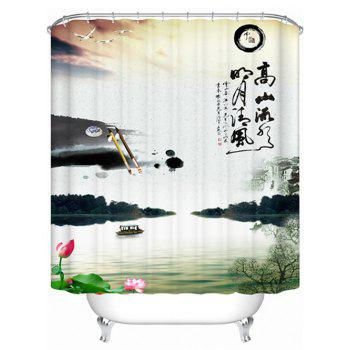 Bath Decor Ink-Painting Waterproof Shower Curtain