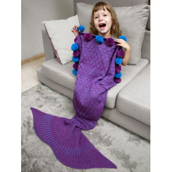 Openwork Pineapple Crochet Pom Ball Mermaid Blanket Throw For Kids - PURPLE PURPLE