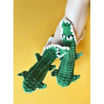 Knitted Alligator Slipper Socks - GREEN