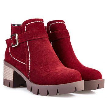 Zipper Stitching Buckle Strap Ankle Boots - DEEP RED 38