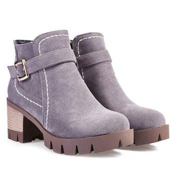Zipper Stitching Buckle Strap Ankle Boots - GRAY 37