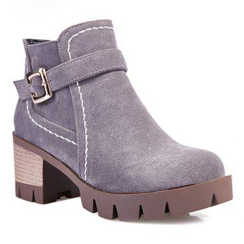 Zipper Stitching Buckle Strap Ankle Boots - GRAY GRAY