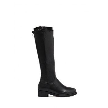 Buckle Strap Zipper Knee High Boots