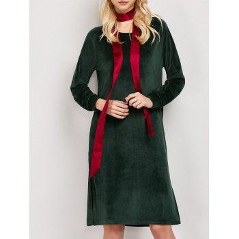Velvet Long Sleeve Tunic Dress