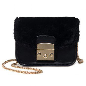 Chains Faux Fur Panel Crossbody Bag