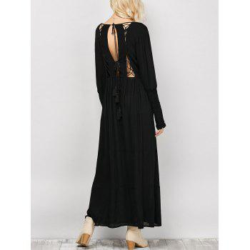 Plunging Neck Long Sleeves Maxi Dress