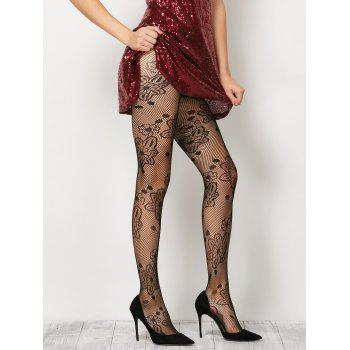 Flower Crochet Sheer Fishnet Pantyhose