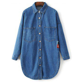 Cartoon Patch Pocket Jean Shirt