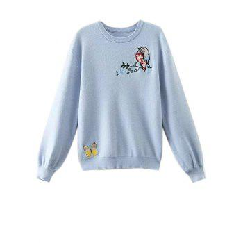 Butterfly Embroidered Fuzzy Sweater