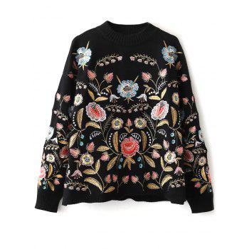 Mock Neck Floral Embroidered Sweater