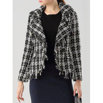 Checked Frayed Lapel Jacket