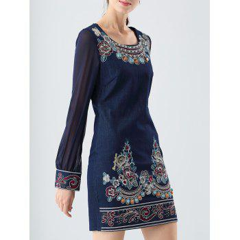 Sheer Sleeve Jewelled Denim Sheath Dress