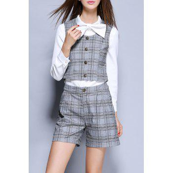 Plaid Button Up Vest and Bow Collar Shirt and Shorts