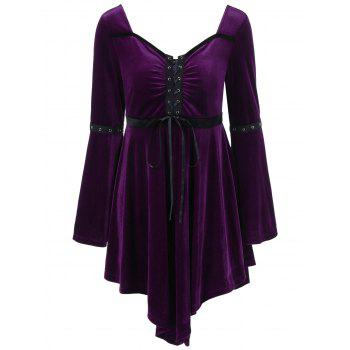 Long Sleeve Velvet Asymmetrical Plus Size Lace Up Dress