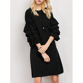 Three Quarter Sleeve Tiered Ruffles Tunic Dress