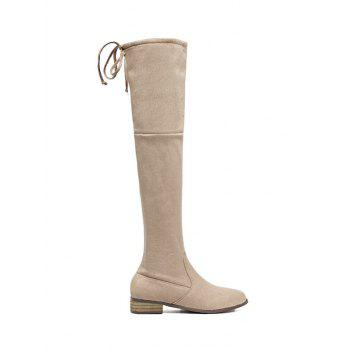 Zip Tie Up Flat Heel Thigh Boots - APRICOT 38