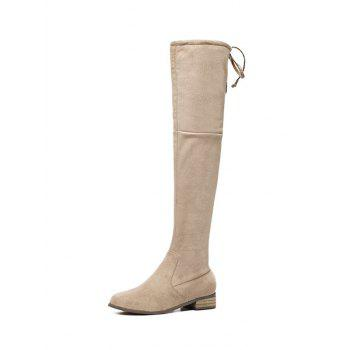 Zip Tie Up Flat Heel Thigh Boots - APRICOT APRICOT