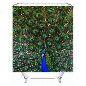 Peacock Print Waterproof Polyester Shower Curtain